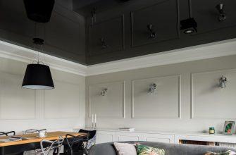 Черный натяжной потолок в студии, двухуровневый